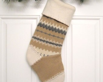 Tan Patterned Knit Customized Christmas Stocking Personalized Holiday Decoration Handcrafted from Felted Wool Sweaters no775