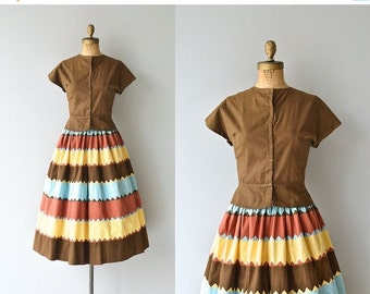 25% OFF.... Sunset in Santa Fe dress | vintage 1940s dress • two piece cotton 40s dress