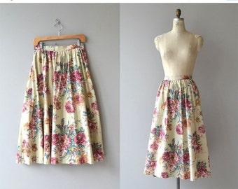 25% OFF.... Cottage Rose skirt | vintage 80s floral skirt | cotton floral print skirt