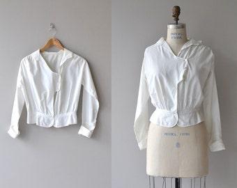 Telfinny House blouse | vintage 1910s blouse | white cotton Edwardian blouse