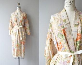 Karui floral silk robe | vintage 1920s silk robe | 20s kimono robe