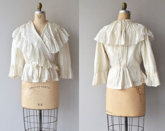 Calla silk blouse | Victorian silk blouse | antique 1800s ruffled blouse