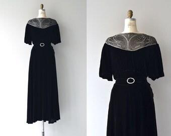 Nachspiel silk velvet gown | vintage 1930s dress | silk velvet 30s gown