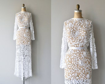 Irish Eyes wedding gown | vintage crochet wedding gown | crochet lace wedding gown