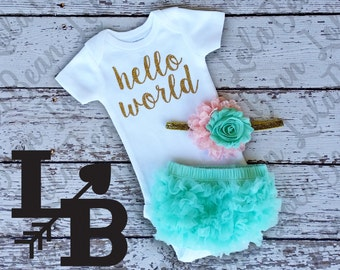 Hello World Take Home Outfit Baby Girl Newborn Baby Girl Hello World Bodysuit Mint Bloomers Pink Mint Gold Headband Set