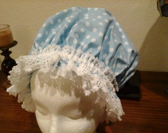 Fancy Shower Cap Blue and White Polkadot Cotton Lace Trim Fits EX Lg, Lg, Free Shipping