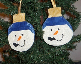 Handmade Quilted Snowman, Hanging Ornaments, Blue, Holiday, Christmas,  Peg Shelf, Door Knob Hanger, Tree Decoration