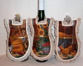 Dish Soap Apron,  Wine Bottle Cover, Eyelet Lace,  Detergent Apron, Detergent Cover, Kitchen Decor, Farmhouse Decor