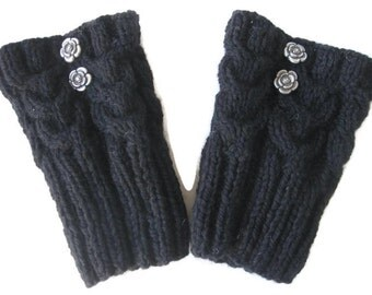 Hand Knit, Boot Toppers, Boot Cuffs, Leg Warmers,  2 Buttons, Horseshoe Cables, Black Wool, Ready To Ship