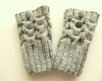 Boot Toppers, Boot Cuffs, Boot Socks, 2 Buttons, Cables, Light Grey, Ready To Ship