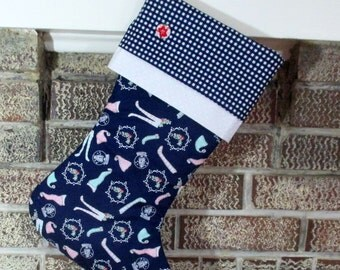 Blue Christmas Stocking , Personalized Christmas Stocking , Quilted Stocking , Monogrammed