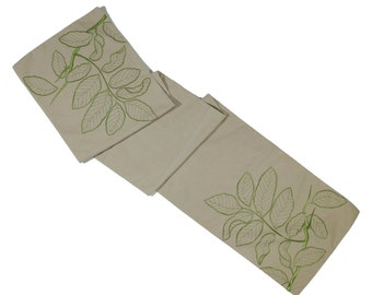 "Leaf Table Runner, Linen Table Runner 14"" x 64"", Natural Linen Green Leaf Embroidery, Long Table Runner, Embroidered Table Linen"