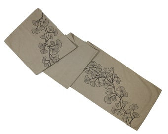 Ginkgo Table Runner, Embroidered Linen Table Runner, Light Brown Linen Dark Brown Ginkgo,  Floral Table Linen, Long Table Runner