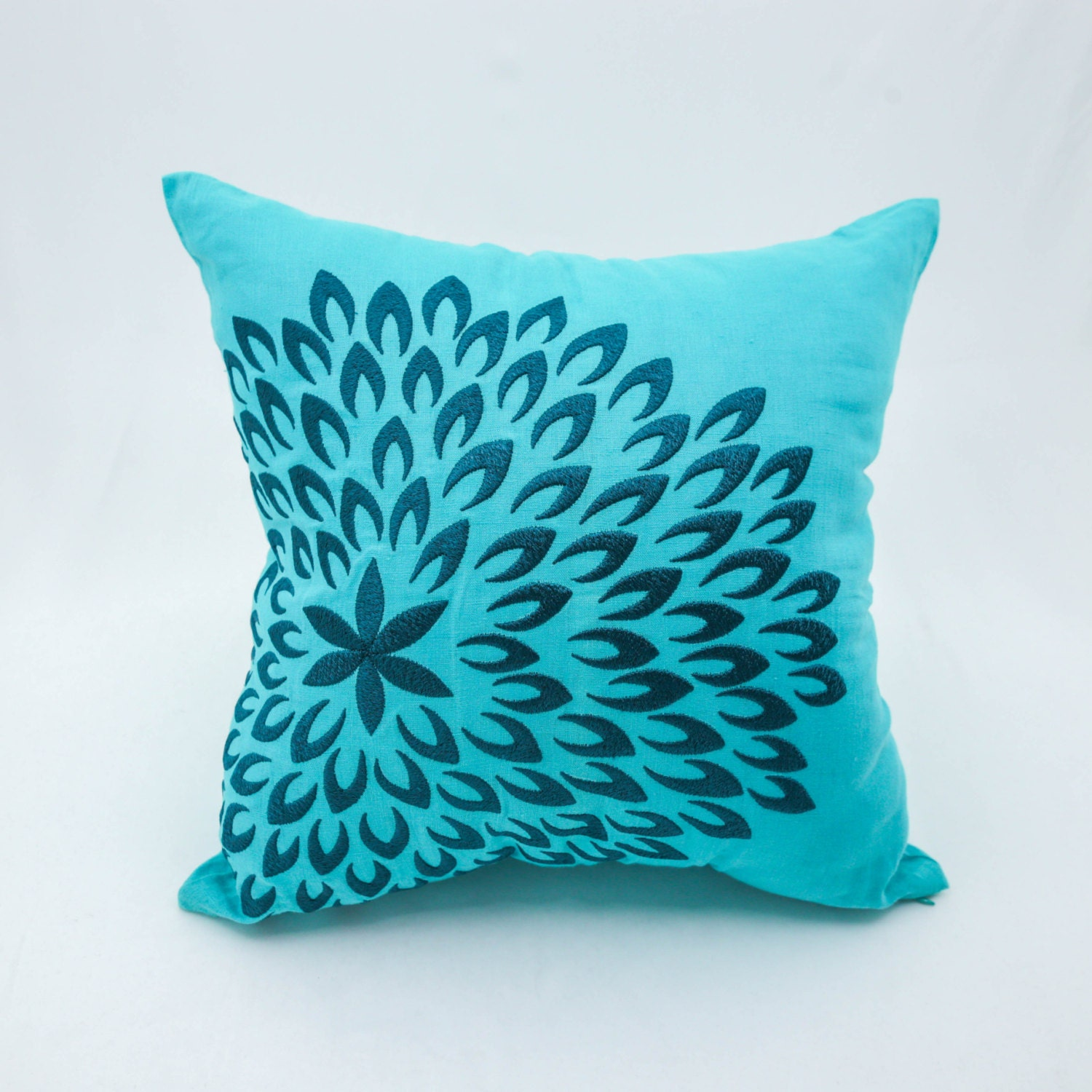 Throw Pillow Covers Teal : Teal Throw Pillow Cover Teal Linen Pillow Deep Blue Floral
