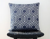 ON SALE ATOM Silver on Blue Linen Pillow Cover 45 x 45 cm