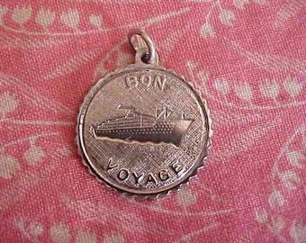 Vintage Sterling Bon Voyage Cruise Ship Vacation Charm