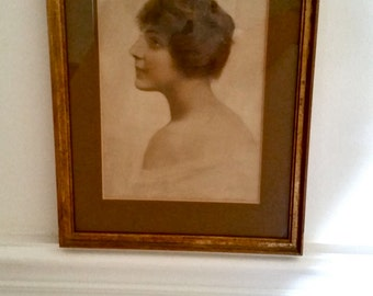 Antique Portrait Print, muted hues, 1920's, Gibson Girl, Victorian