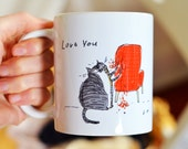 Funny Cat Mug - Love You, Chair Rip - Bad Cat - Gift for Cat Mom or Cat Dad - ON SALE