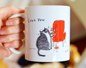Funny Cat Mug - Love You, Chair Rip - Bad Cat - Gift for Cat Mom or Cat Dad