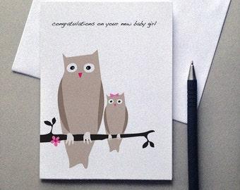 Owl New Baby Girl, Owl, New baby, Baby girl, Owl baby, Greeting card