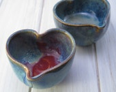 Blue, Purple, Stoneware Heart Bowl Set, Ring Holder, Jewelry Catch All,  Stoneware Heart Dish, Valentine Gift