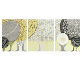ON SALE Gender Neutral Nursery Art - Abstract Yellow and Gray Tree Painting on Canvas Triptych - Large 50x20