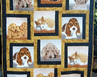 Cute and Adorable Handmade Baby Quilt, Puppies Baby Quilt, Handmade Baby Boy Quilt