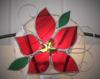 Poinsettia Stained Glass Night Light Christmas Night Light Glass Nightlight Red Poinsettia Holidays Night Light Christmas Decoration