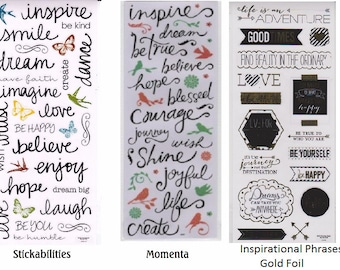 Inspiration Handwritten Words Stickers Sheet   Phrases   Scrapbook   Cards