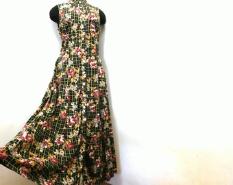 Vintage 90s Country Club Festival Maxi Dress Forest Green Floral Button Front M Medium