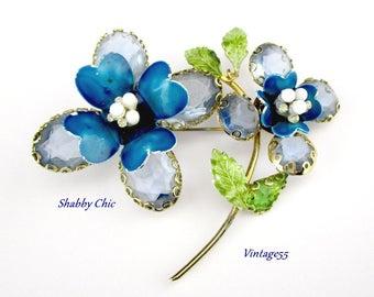 Brooch Turquoise Rhinestone Enamel Shabby Chic