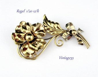 Vintage Brooch  Retro Floral by A Regel