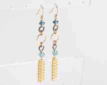 Giselle: Long Tassel Earrings w/ AAA Moss Aquamarine, Royal Kyanite, Silver, Gold, Long, Forged, Drop, Simple, Modern, Blue, Two toned