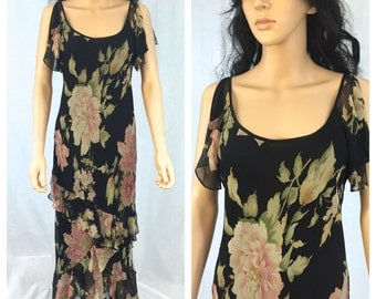 Vintage Black Floral Silk Dress. Size 10. Ralph Lauren. 1990s. Feminine Romantic Summer Dress. Ruffled. Long Dress. Under 75. Pink Roses.
