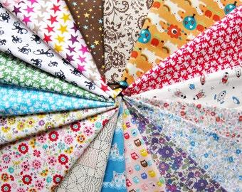 """Cotton Fabric Scrap Bundle 150g - Japanese Cotton / Linen Fabric Mix Bundle  - Japanese Fabric - at least 25 pieces 5"""" to 8"""" squares"""