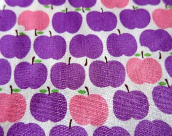 Japanese Fabric - Purple and Pink Apples - Food Print Fabric - Fat Quarter LAST PIECE