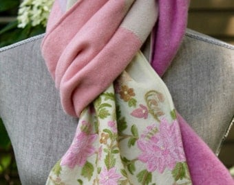 Recycled cashmere and vintage wool scarf.  Pale pinks and ivory.  Wool is heavily embroidered at ends.
