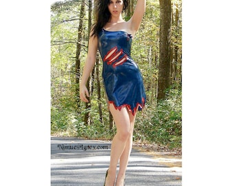 Latex Horror Dress, with faux slashes and blood decoration.  Made to order.