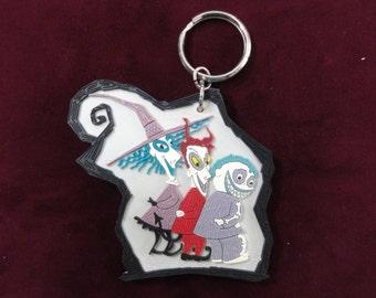 Nightmare Before Christmas Keychain- Lock, Shock and Barrel- Disney Movie, Vintage Disney Keychain, Vintage Disney Souvenir, Key Ring Fob