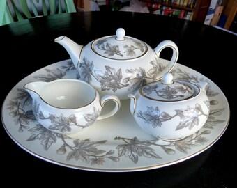 Wedgwood Ashford Grey #W4106 MCM Bone China Tea Service: Gray Autumn Leaves, Figs, Vintage Wedding China