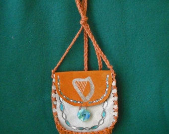 Bard's Harp Medicine Bag Celtic Druid Spell Bag Leather Pouch