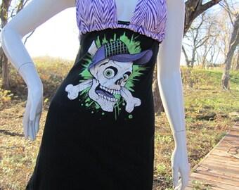 Skull and crossbones t shirt bikini dress