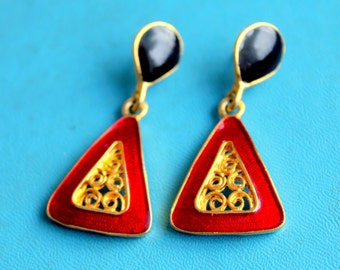 Vintage Earrings Dangle Red Enameled Triangle Statement Pierced