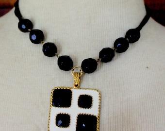 Vintage Necklace Black White Enameled Statement