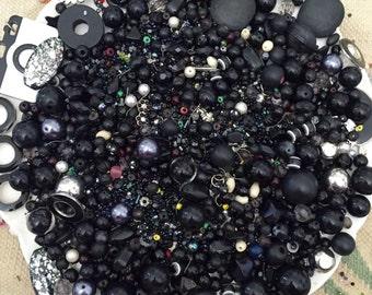 HUGE 2 pounds Bead Mix Destash Lot Findings Black Glass Stone Rhinestone