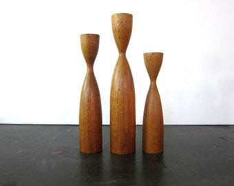 Mid Century Vintage Danish Modern Wood Candle Holders Candlesticks 3 candle sticks Wooden Home Decor Ranch Style Dell's