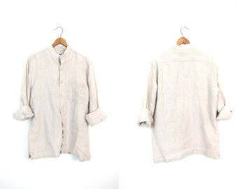 Button Up Linen Blouse COLLARLESS Beige Pocket Shirt Minimal Loose Fit Top Minimalist Modern Natural Linen Shirt Womens Medium