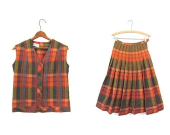 School Girl Plaid 50s Wool Skirt & Vest Top MATCHING SET Orange Gray Pleated Skirt High Waist Preppy Button Up Suit Small Louanne's Vintage