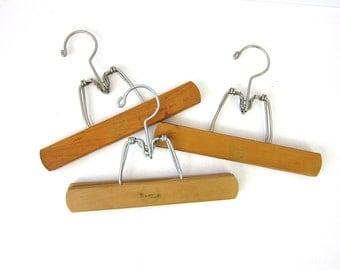 3 Vintage Wood Walker Hangers Wooden Clamp Skirt or Pants Hangers Instant Collection Louanne's Estate Sale