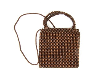 vintage Wood beaded Purse Small Wooden Beads Bag Long Shoulder Strap Across Body Purse Brown Cross Body Bag